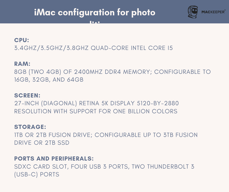 which iMac is good for photo editing