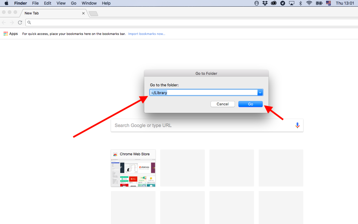 Going to Library folder in Finder