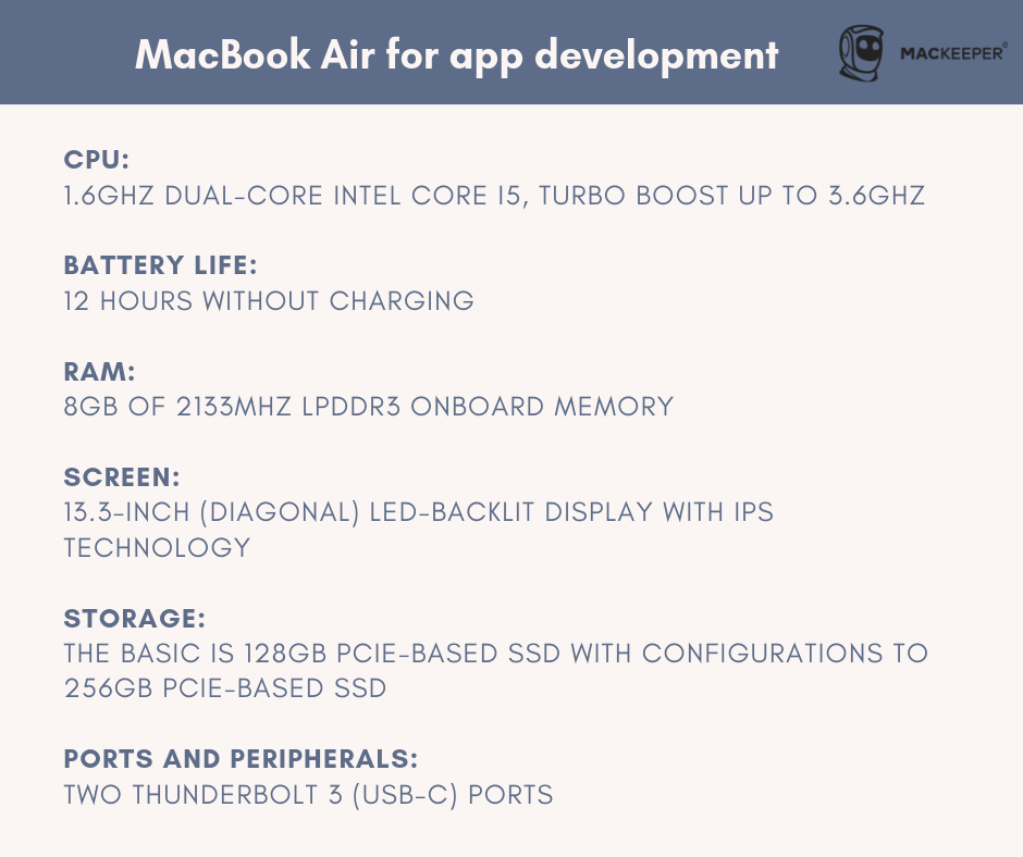 which mac is best for app development and coding macbook air