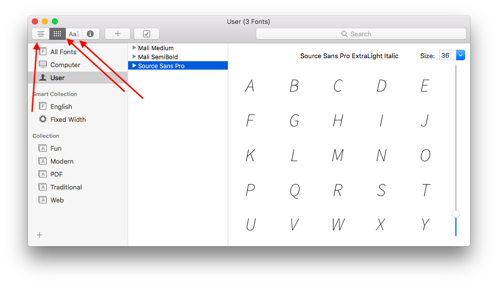 how to preview fonts on mac in different ways