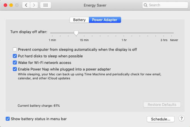 urn display off after 10 minutes in Mac settings on power adapter