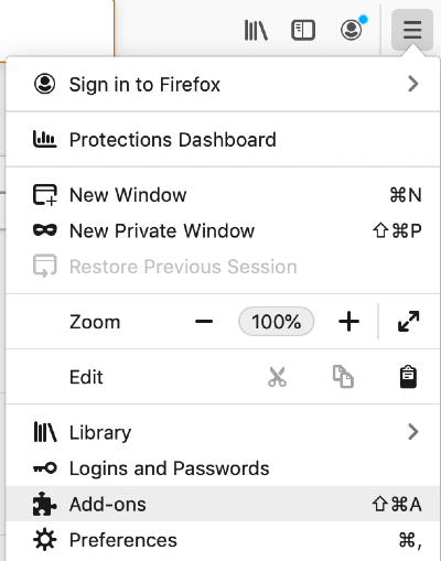 find the firefox add-ons button in firefox menu
