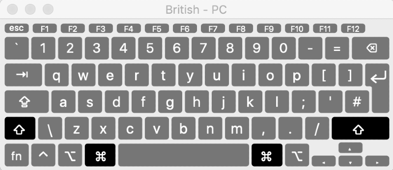 keyboard viewer open on British keyboard