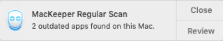 mackeeper regular scan popup with outdated apps message