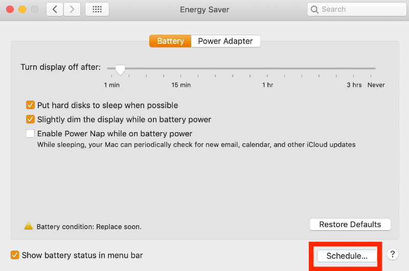 Energy saver window with Schedule button highlighted