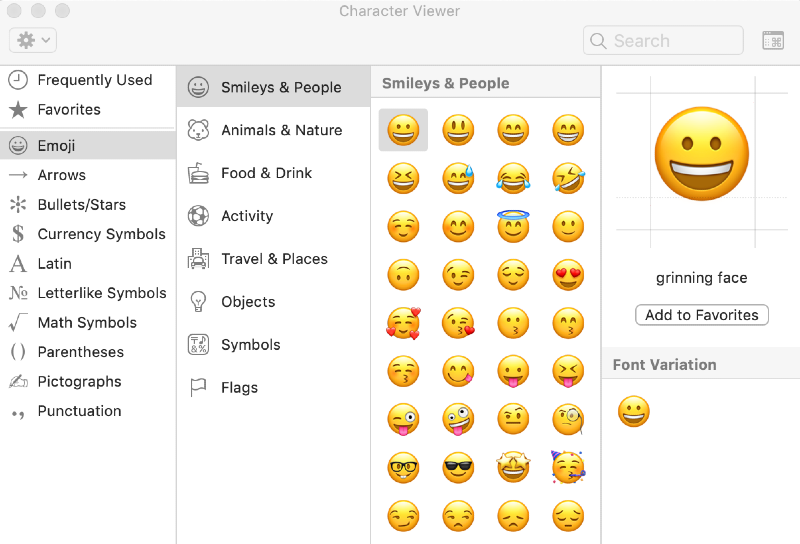 a character viewer window displaying emojis available on a Mac keyboard via the emoji keyboard