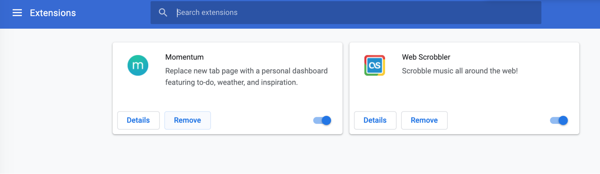 remove button in extensions tab in chrome