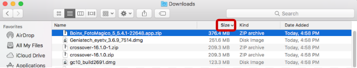 sorting files in the downloads folder by size