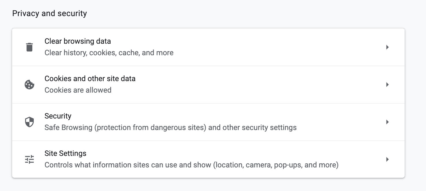 privacy and security settings in chrome