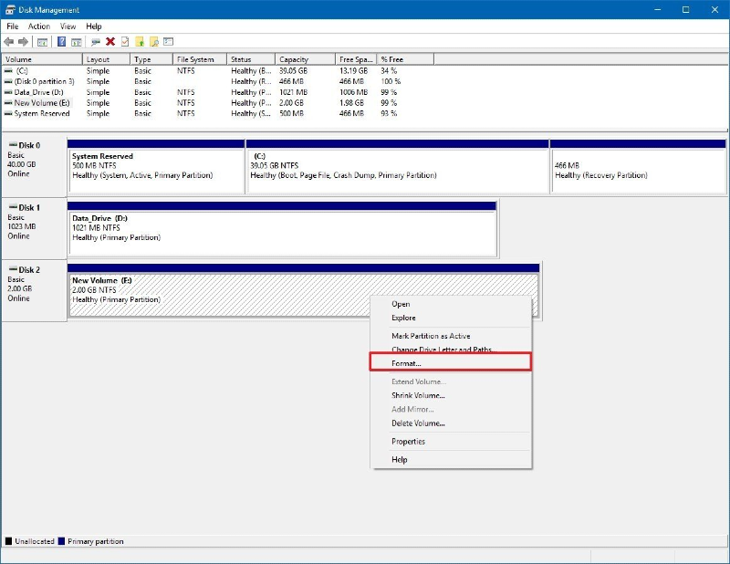 """disk management window in windows 10 displaying a list of disks and a drop-down menu with """"Format"""" highlighted in red"""