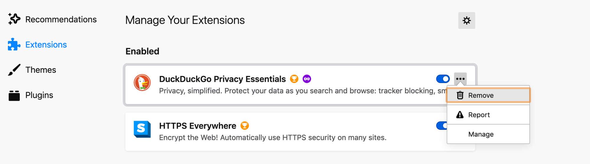 remove browser extensions in firefox settings