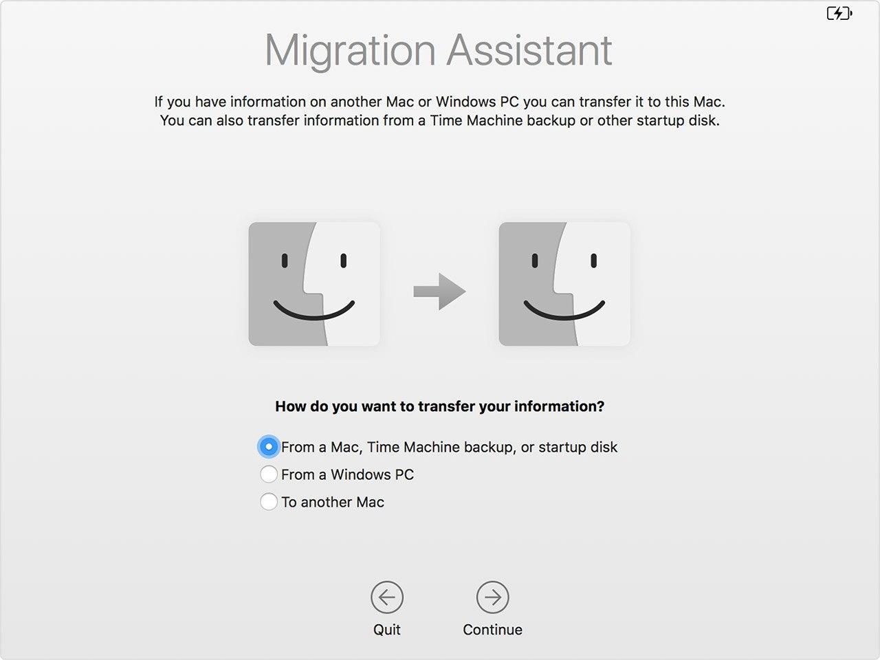 migration assistant choose transfer mode