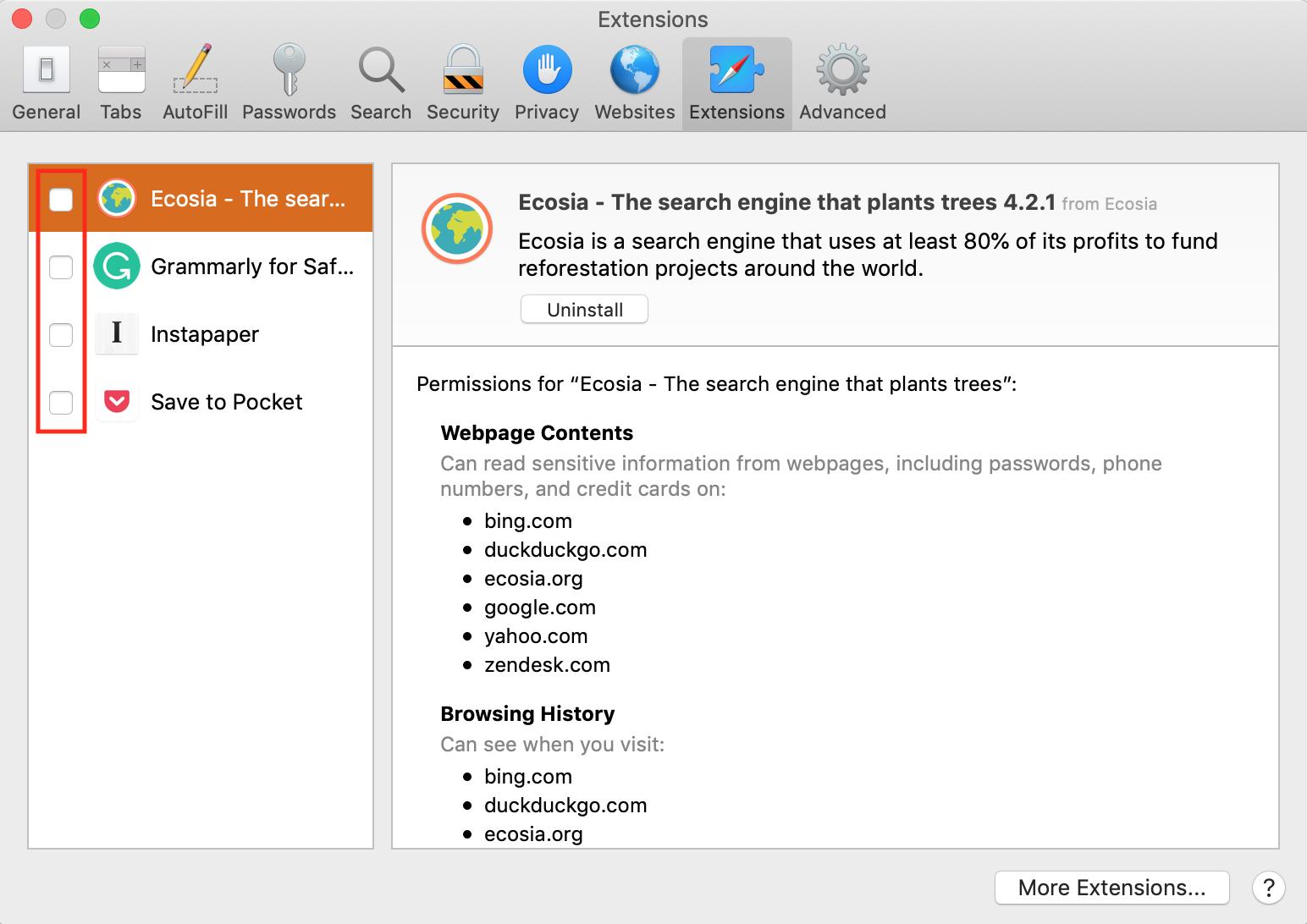 disable Safari extensions tab on MacBook