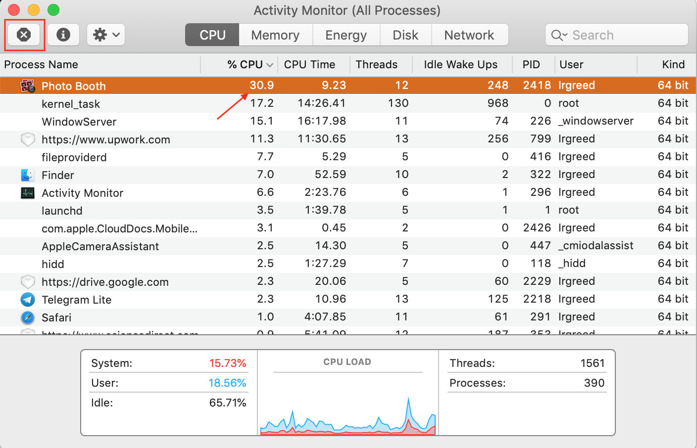 photo booth app showing high CPU in activity monitor recommended to quit