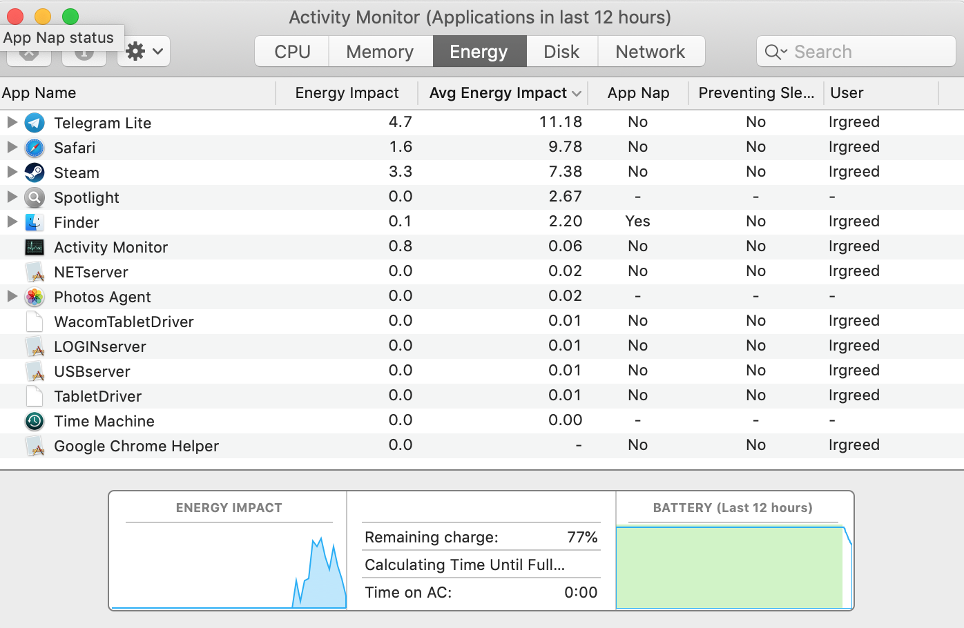 energy tab in activity monitor
