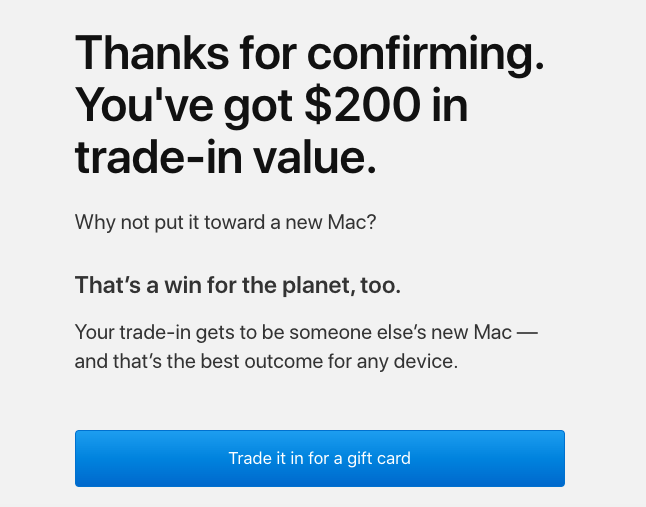 trade in value for mac