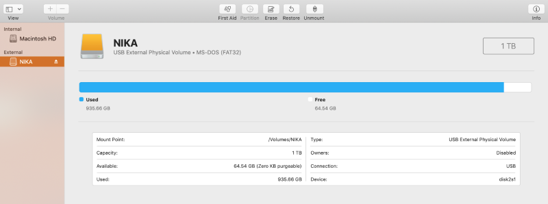 external disk menu in disk utility