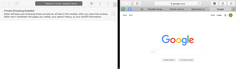 safari incognito window and normal window in split screen