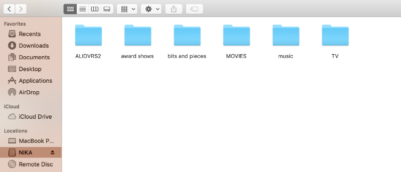 external disk in locations in finder