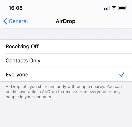 airdrop settings on iphone