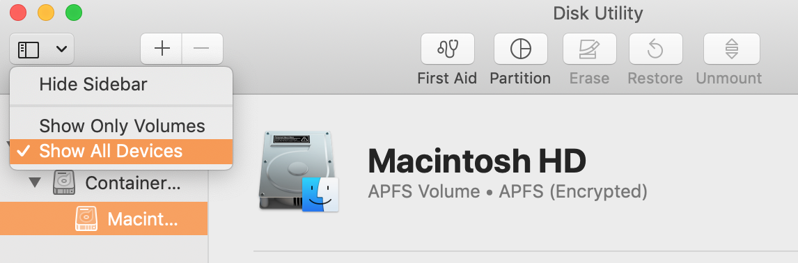show all devices from the view menu in disk utility