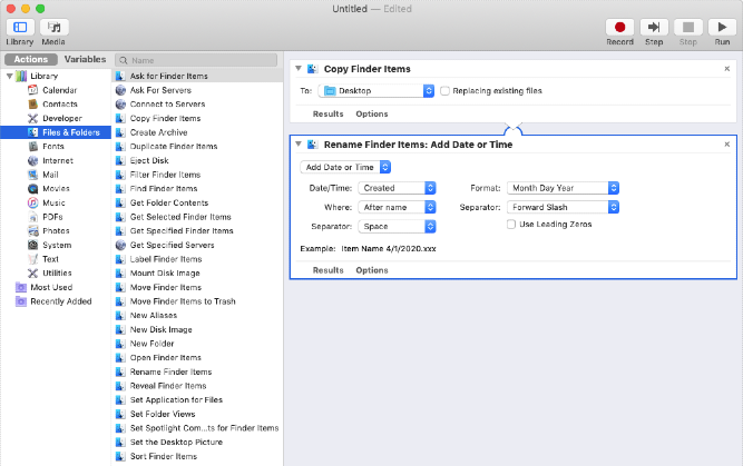 Batch renaming files on Mac with Automator