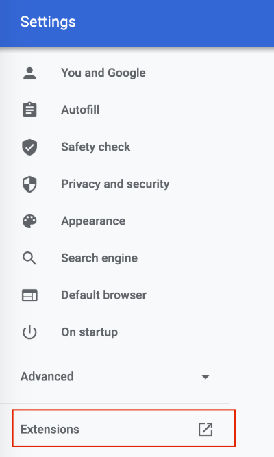 extensions button in chrome settings sidebar