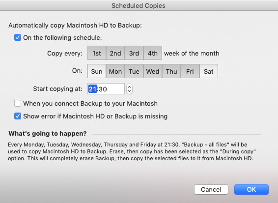 setting up a schedule to regularly clone hard drive with superduper app