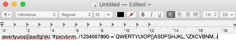keyboard test in text edit