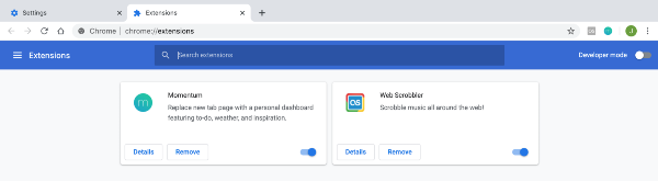 remove extensions in chrome settings