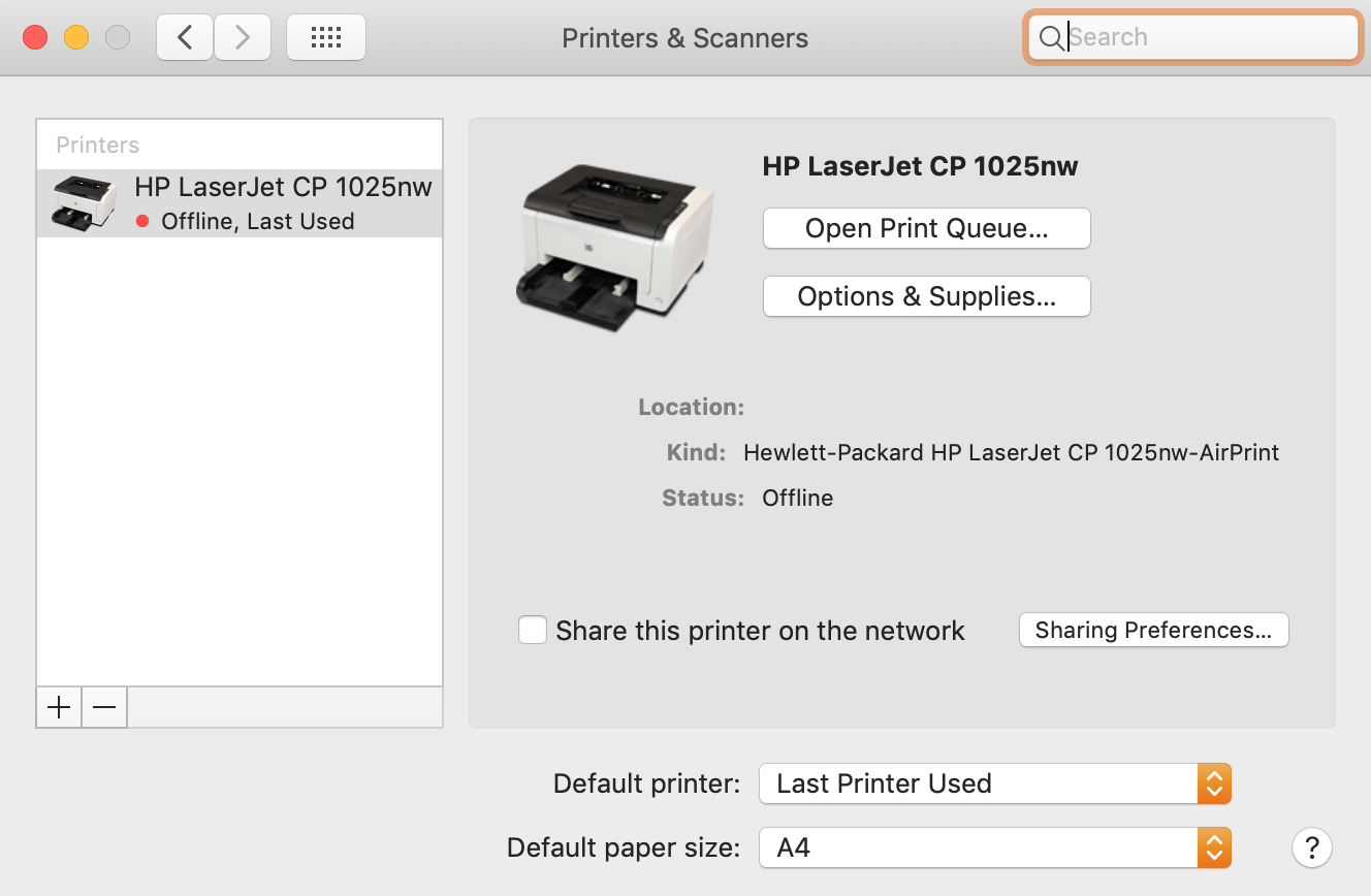 printers and scanners page with the list of printers on the left