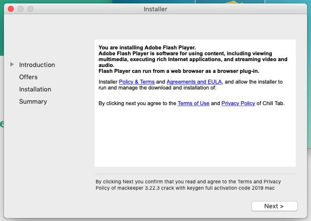 Fake Adobe flash player installer