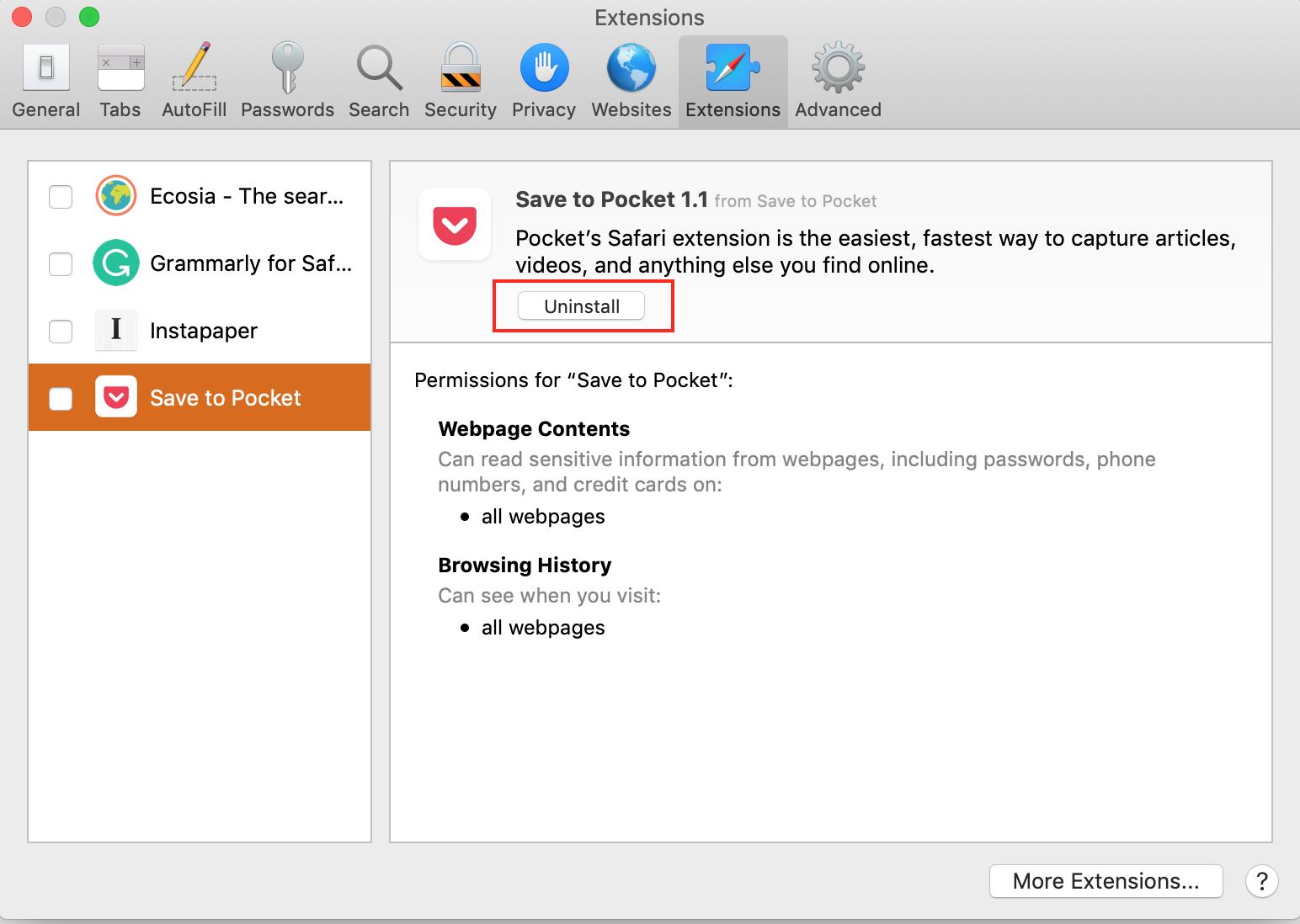 uninstall Safari extensions tab on Macbook