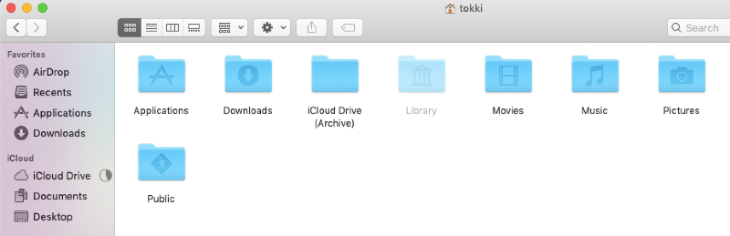 Library folder made visible in Finder on a Mac