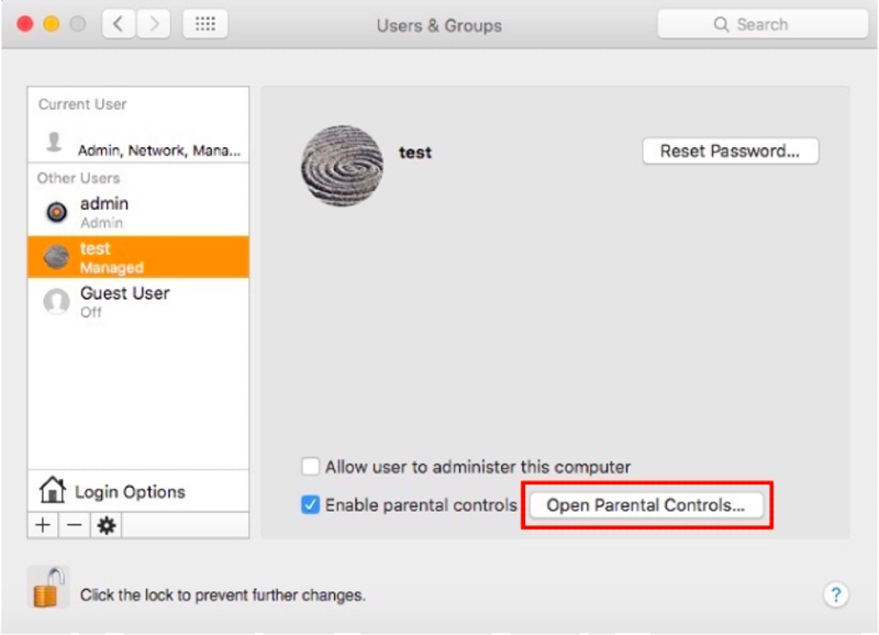 open parental controls for a new user on mac