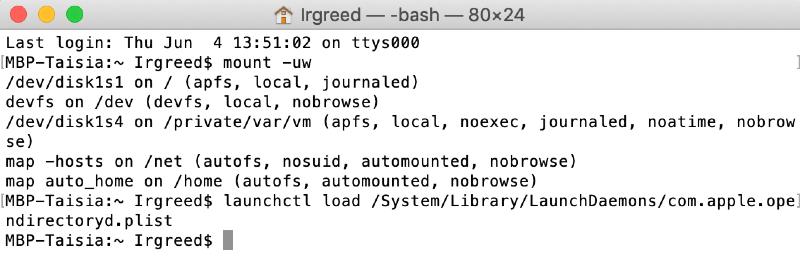 reset password in terminal in single-user mode