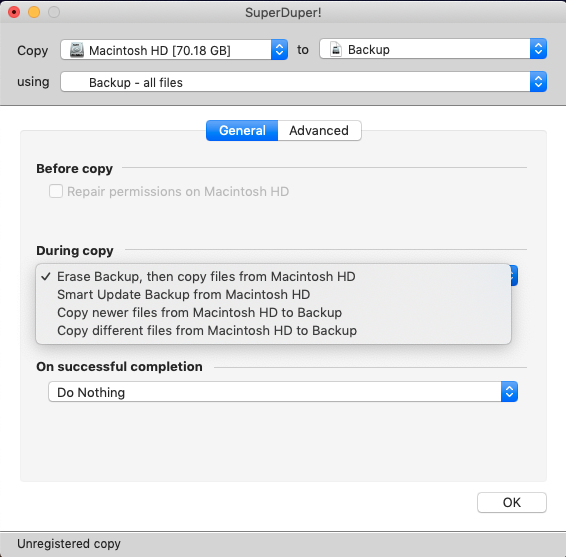 choosing how to clone hard drive with superduper app