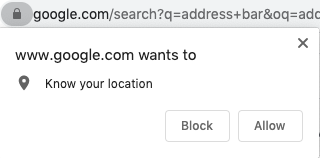 example of popup in chrome