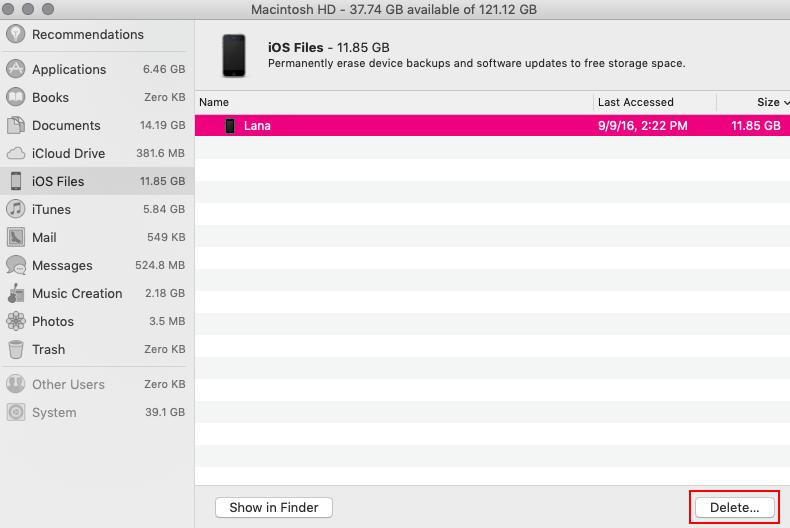 iOS files menu with delete button highlightediOS files menu with delete button highlighted