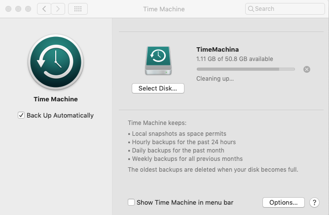 Backing up files on Mac with Time Machine