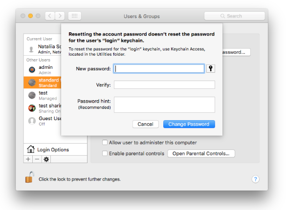 enter and verify new password for admin account