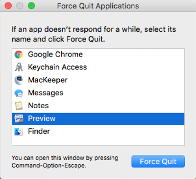 force quit applications select from menu