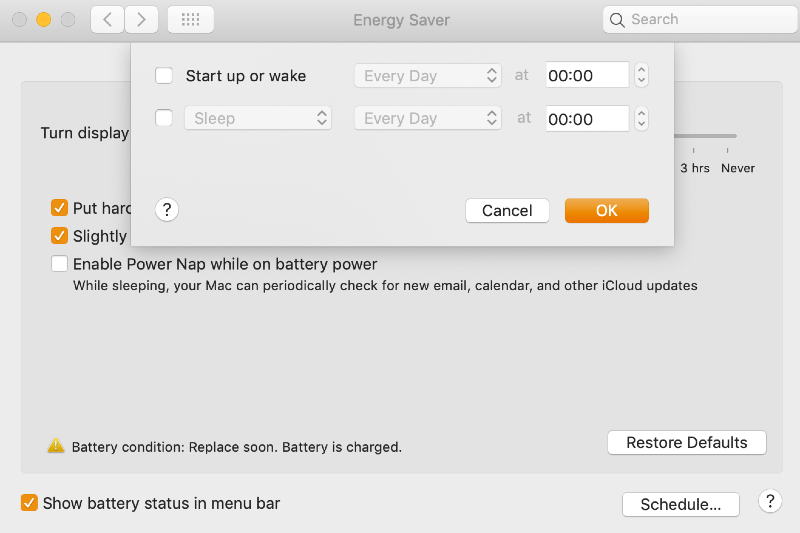 Energy saver window with options to schedule Mac sleep