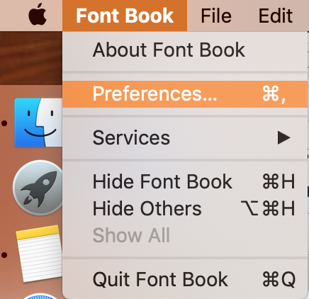 open font book preferences in the top menu