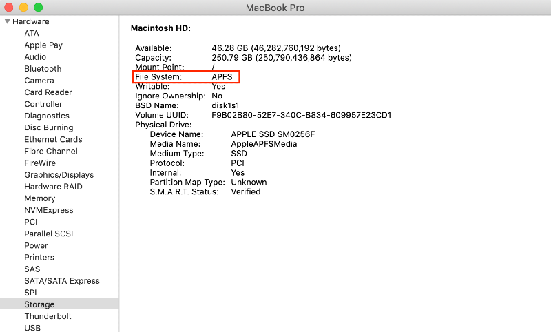 check type of file system on mac in system information