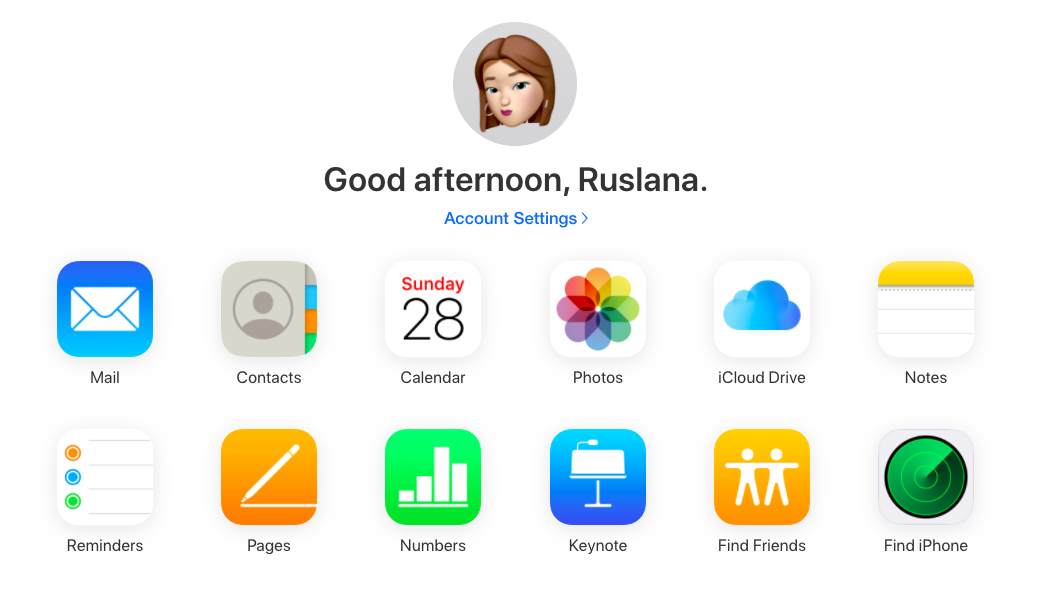 iCloud welcome page in browser
