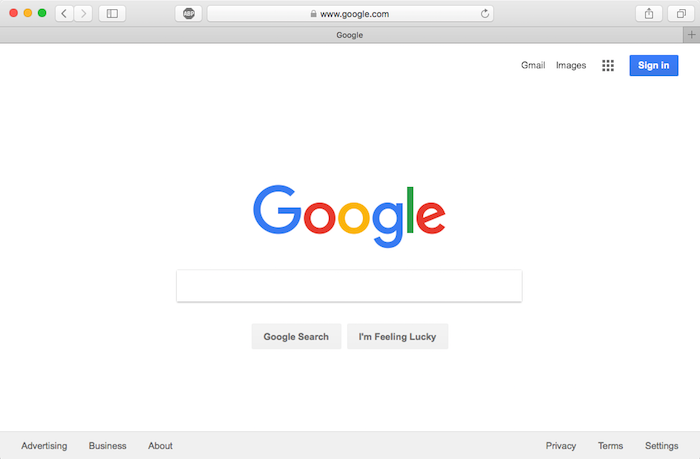 safari browser window in standard mode