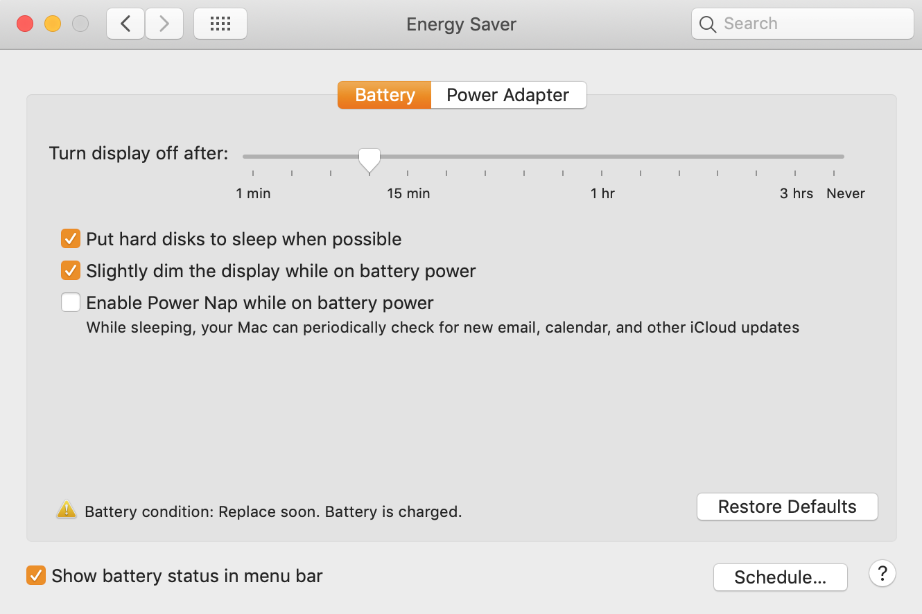 turn display off after 10 minutes in Mac settings on battery