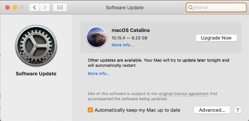a software update window in system preferences displaying an upgrade to macOS Catalina available