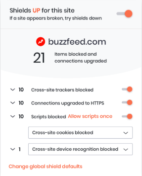 brave shield report with blocked ads and trackers